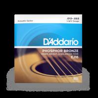 D' Addario Acoustic Guitar Strings Set Phosphor Bronze Light 12-53 EJ16