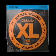 D' Addario Electric Bass String Set Nickel Wound Medium 50-105, Long Scale EXL160